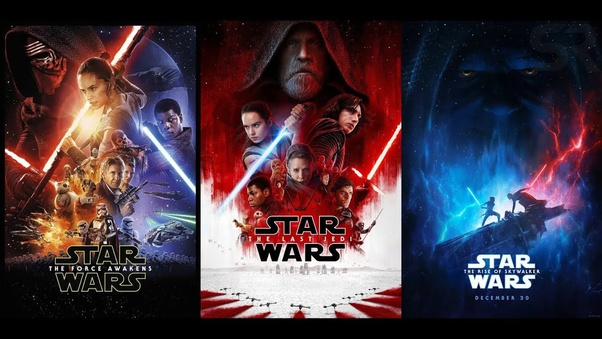 A combination of all 3 Disney Star Wars Trilogy movie posters side-by-side.